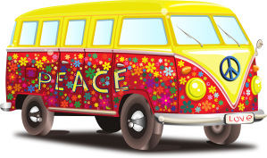 Van customisé avec le slogan Peace